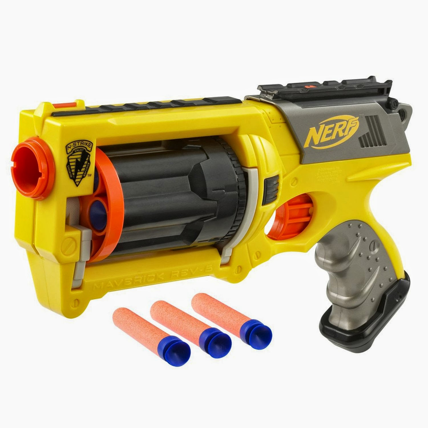 The Nerf N Strike is the gun of choice Easy to use and with a large variety of darts available