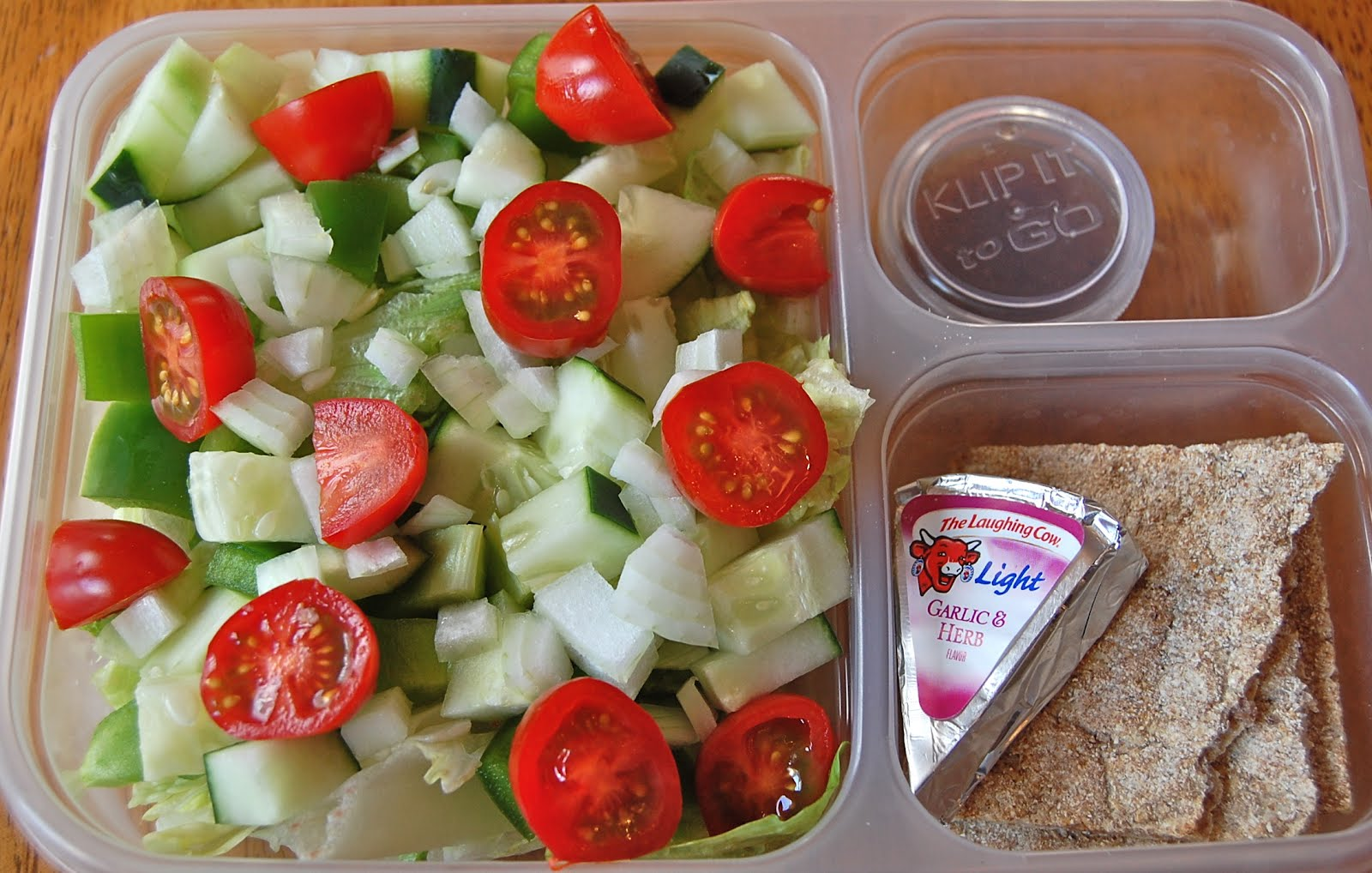 Salad (lettuce, Cucumber, Onion), Wasa Crisp, Laughing Cow Light Cheese  Spread, Balsamic Vingerette