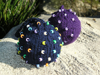 beaded, blue, purple, ornaments, knitted