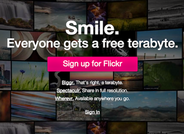 Screenshot della homepage di Flickr
