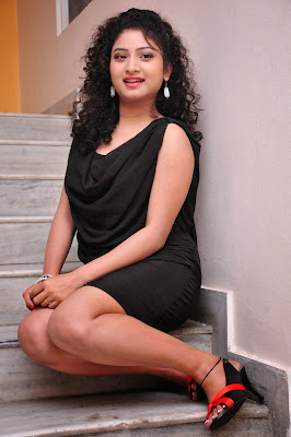 Hot and sexy Vishnu priya hot in black short dress