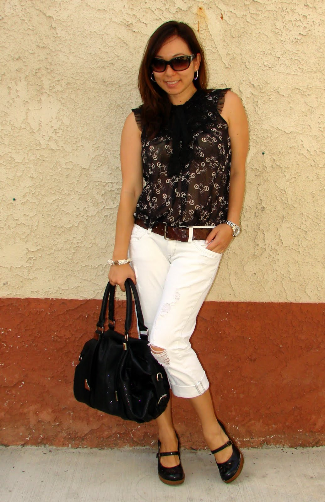 Spinning Threads: Black and White - Bow Tie Top and Denim Capris