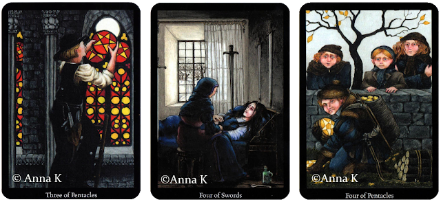 Anna K Tarot Three of Pentacles Four of Swords Four of Pentacles