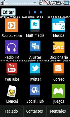 Tema Windows 8 Black para Samsung star 2 S5260