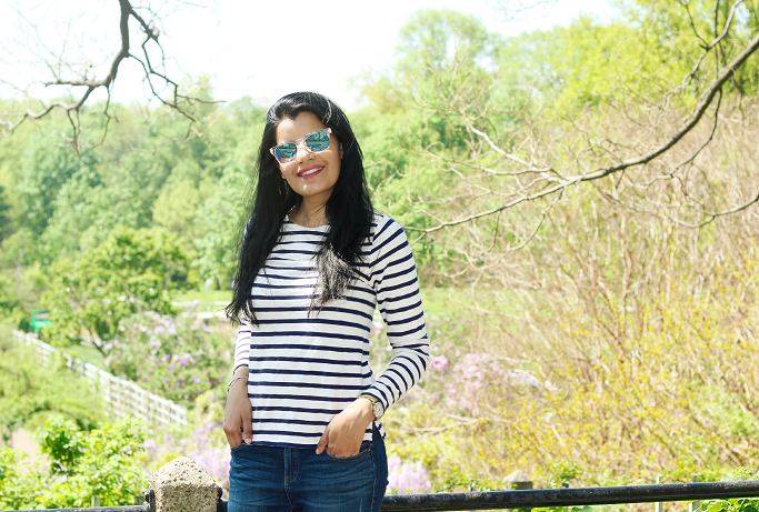 J.Crew Striped Tshirt, JCrew Boat Neck Stripes T shirt, Lucite Sunglasses, Mirror Blue sunglasses