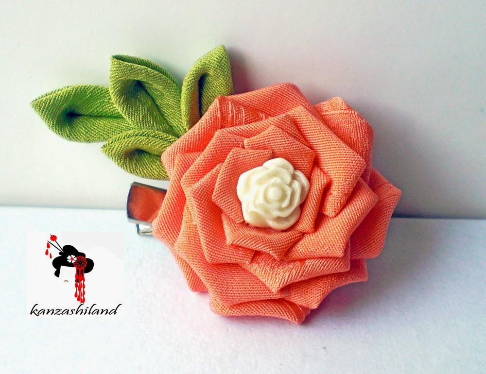 rosa kanzashi by kanzashiland