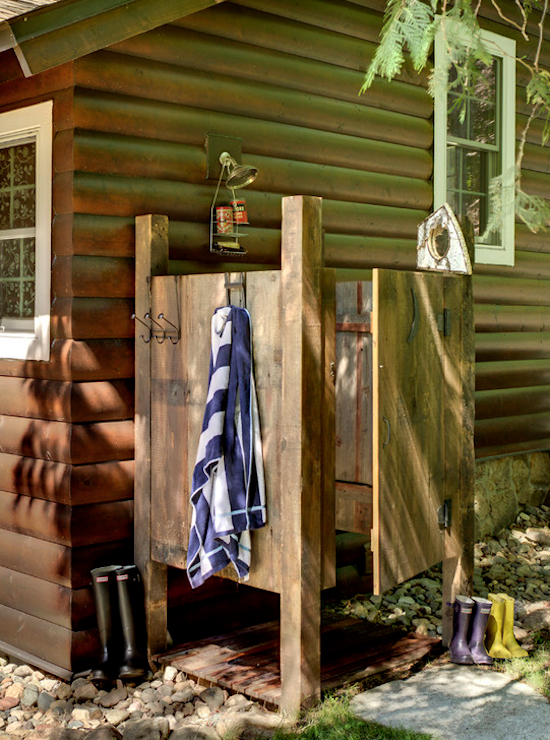 rustic outdoor shower, log cabin ideas