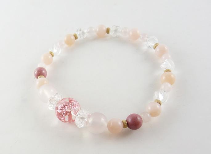 ピンクドラゴン水晶 & ピンクオパール シールドブレスレット