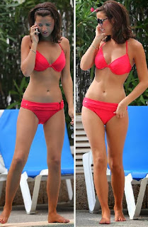 Lucy Mecklenburgh relaxes by a Red Bikini at London