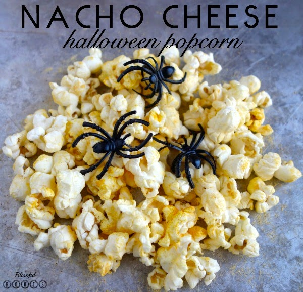 Nacho Cheese Halloween Popcorn @ Blissful Roots