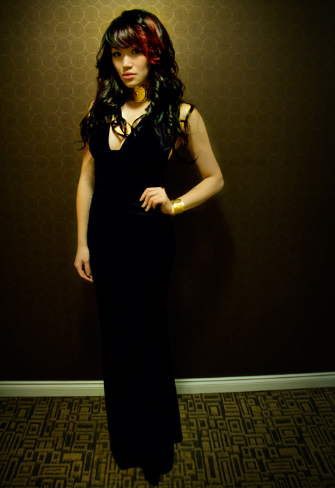 Versace for HM choker, velvet dress, party dress, party style, chic style, street style, curly hair