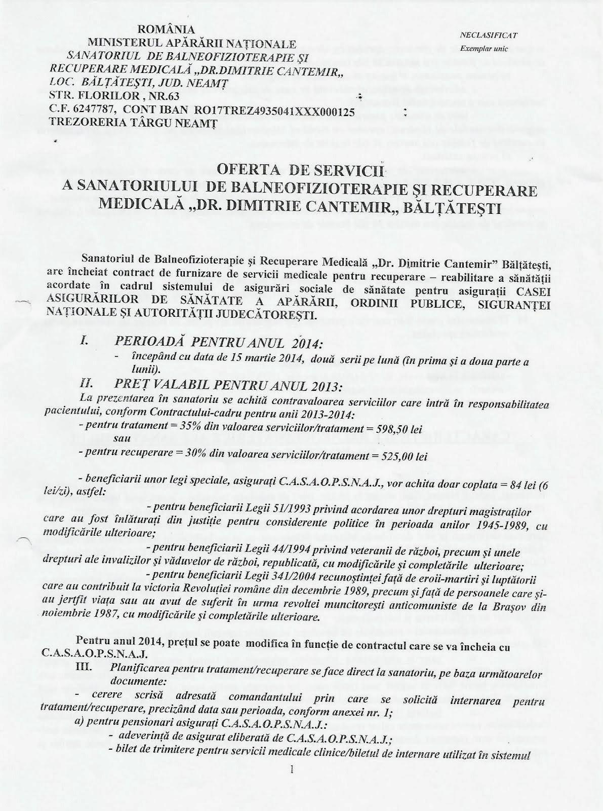 SANATORIU BALTATESTI-OFERTA DE SERVICII PENTRU MEMBRI FILIALEI(click pe poza!)