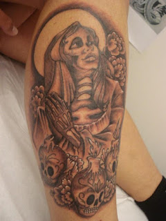 mexican tattoo; Santa Muerte tattoo/ skulls tattoo