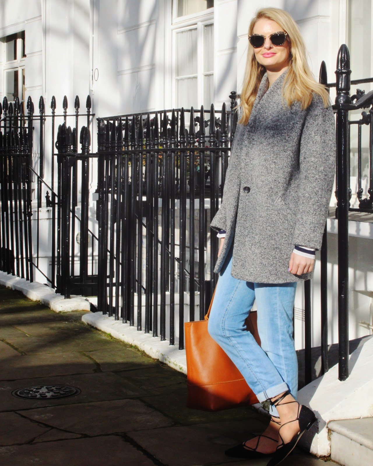 grey coat, accessoryfix, j crew tote, j crew tote bag, russell and bromley, stuart weitzman, iro coat, boyfriend jeans