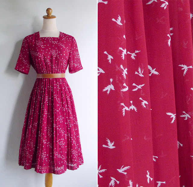 vintage 70's red bird print dress