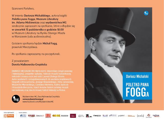 """MG zaprasza na promocję książki """"Poletko pana Fogga"""" Dariusza Michalskiego - Muzeum Literatury"""