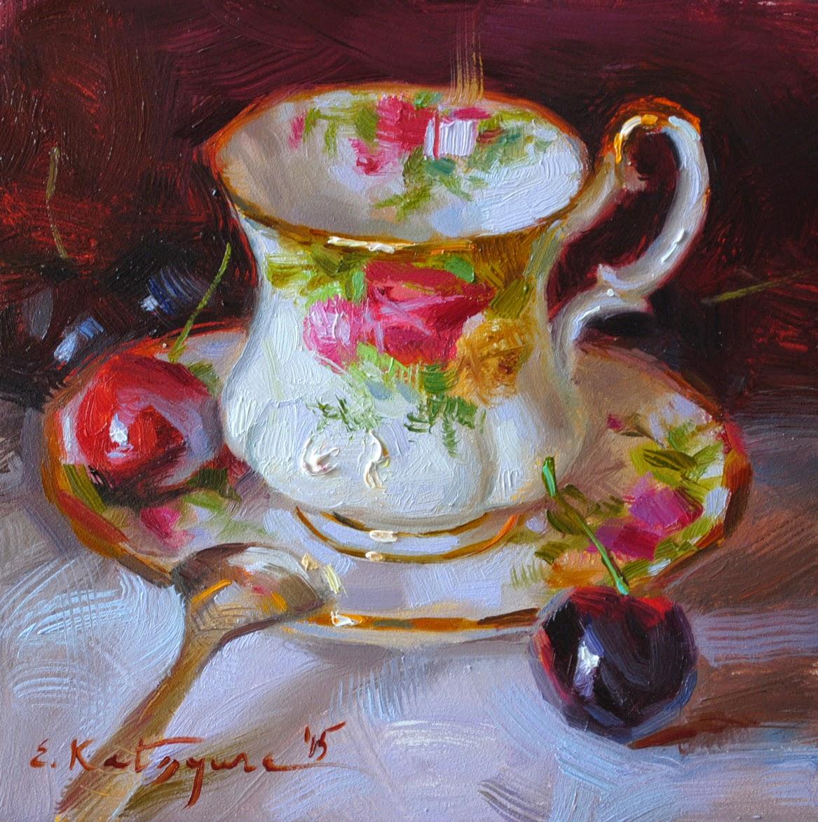 Oil Painting Of Tea Set