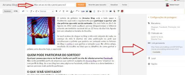 IMAGEM: Print do ambiente com local para edição de URL