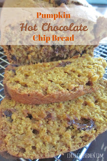 pumpkin chocolate chip bread with hot chocolate