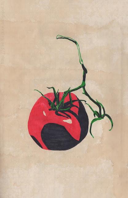 рисунок помидора на кофейной бумаге