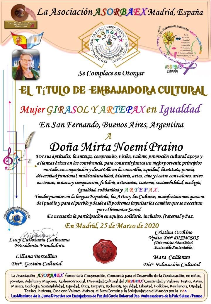 Titulo de Embajadora Cultural Mujer Girasol y Artepax en Igualdad Madrid, España