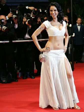 Malika sherawat white dress showing navel and legs -  Mallika sherawat Cannes Film Festival Pic