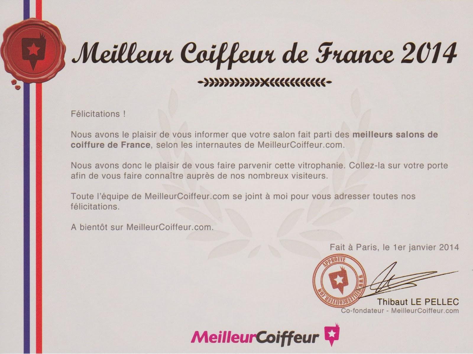 Le petit courrier nous signifiant être parmi les meilleurs coiffeurs de France selon les internautes de MeilleurCoiffeur.com
