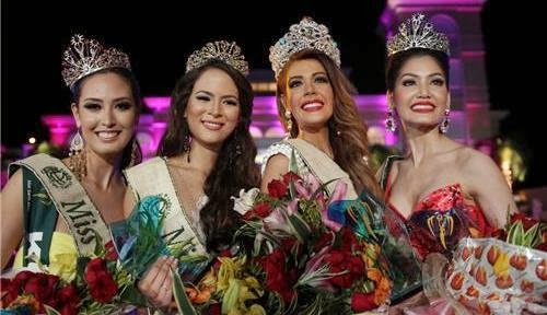 Miss Earth 2013 winners (L-R): Miss Fire Catharina Choi (Korea), Miss Air Katia Wagner (Austria), Miss Earth 2013 Alyz Henrich (Venezuela) and Miss Water Punika  Kulsoontornrut (Thailand)