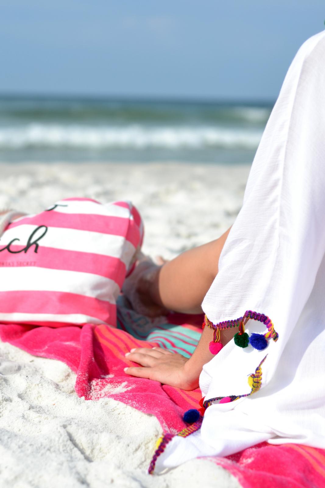 Beach coverup pom poms