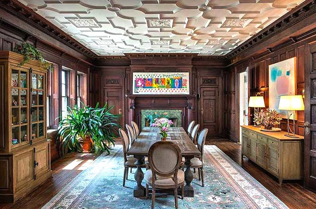 Dining room carved ceilings wood paneled walls in the Copper Beech Farm manison