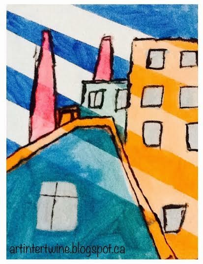 Demuth cityscape painting activity - art intertwine