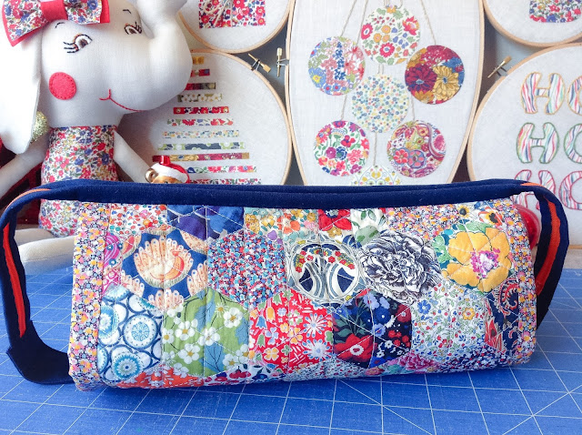 Craft Organiser Bag Liberty Print EPP Hexie Patchwork Exterior