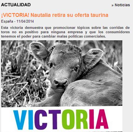 Nautalia retira un viaje con corrida de toros