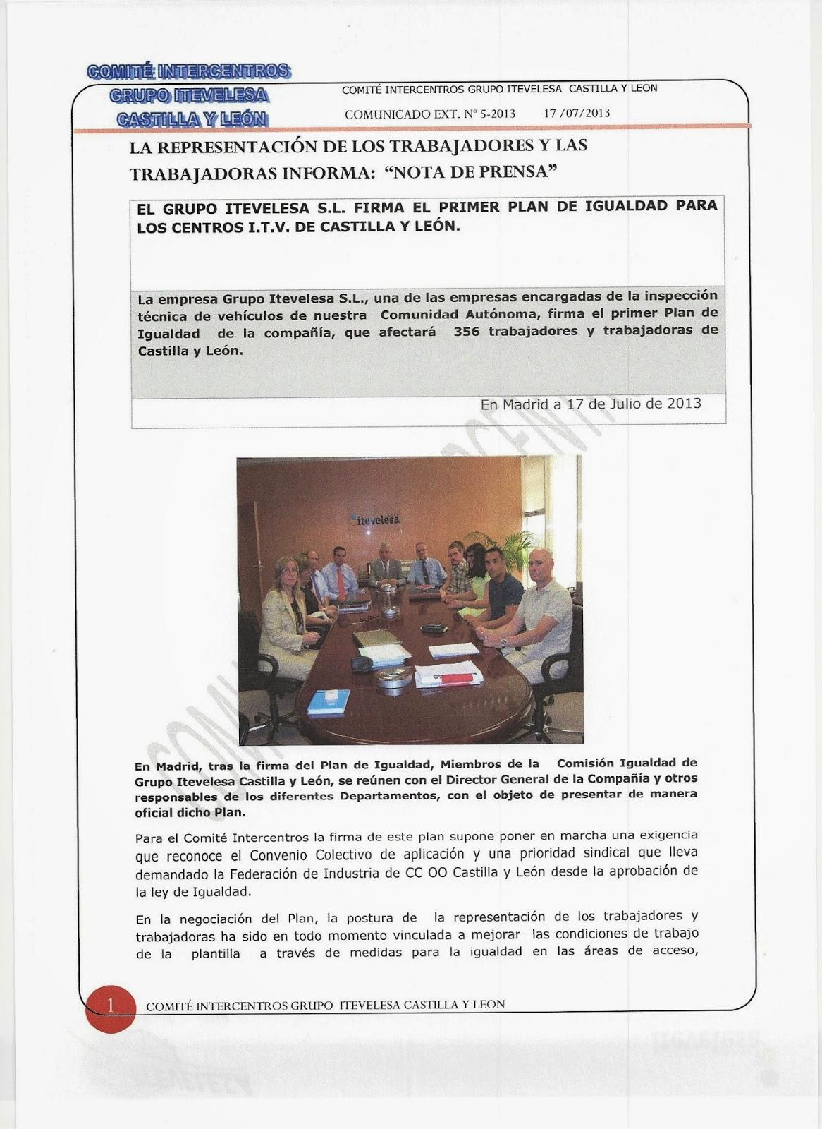 Comité Intercentros Itevelesa en Castilla y León.: julio 2013