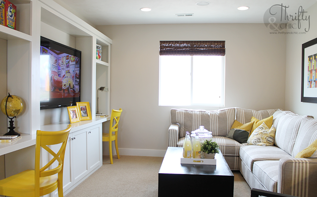 Yellow and grey family room