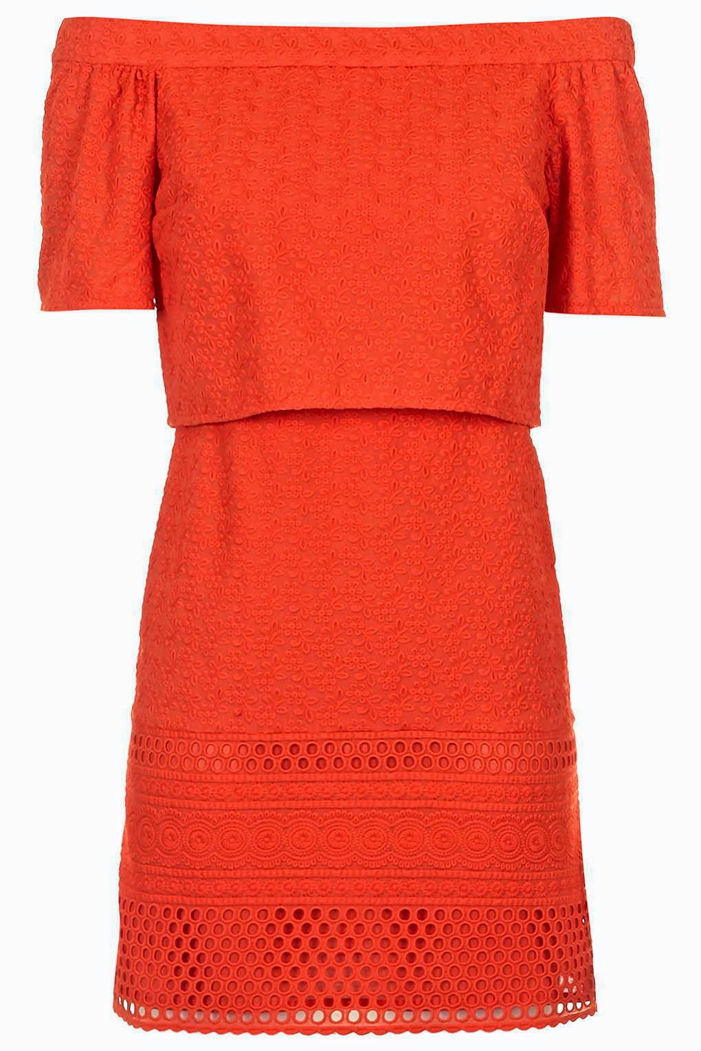 orange off shoulder dress