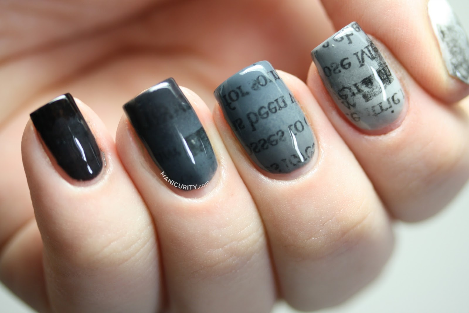 The Digit-al Dozen: Gradient Ombre Newsprint Nails | Manicurity ...