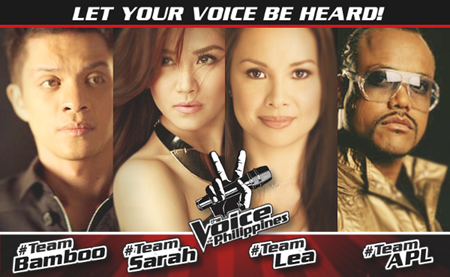 The Voice Philippines Coaches: Bamboo, Sarah Geronimo, Lea Salonga and Apl.de.Ap