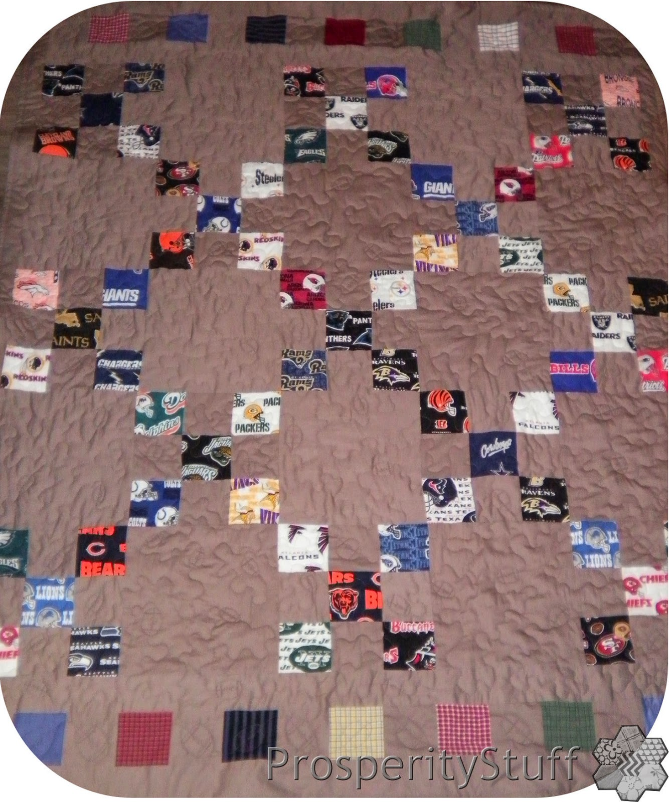 ProsperityStuff Throw Quilt, NFL Fabric & Shirt Fabric