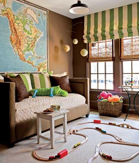 Roses and rust bedrooms for boys for Wall map for kids room