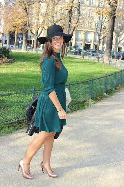 escarpins louise deloris à paillettes, perfecto Zara, robe vert sapin