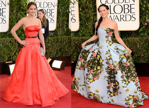 Jennifer Lawrence (Christian Dior Couture) and Lucy Liu (Carolina Herrera)