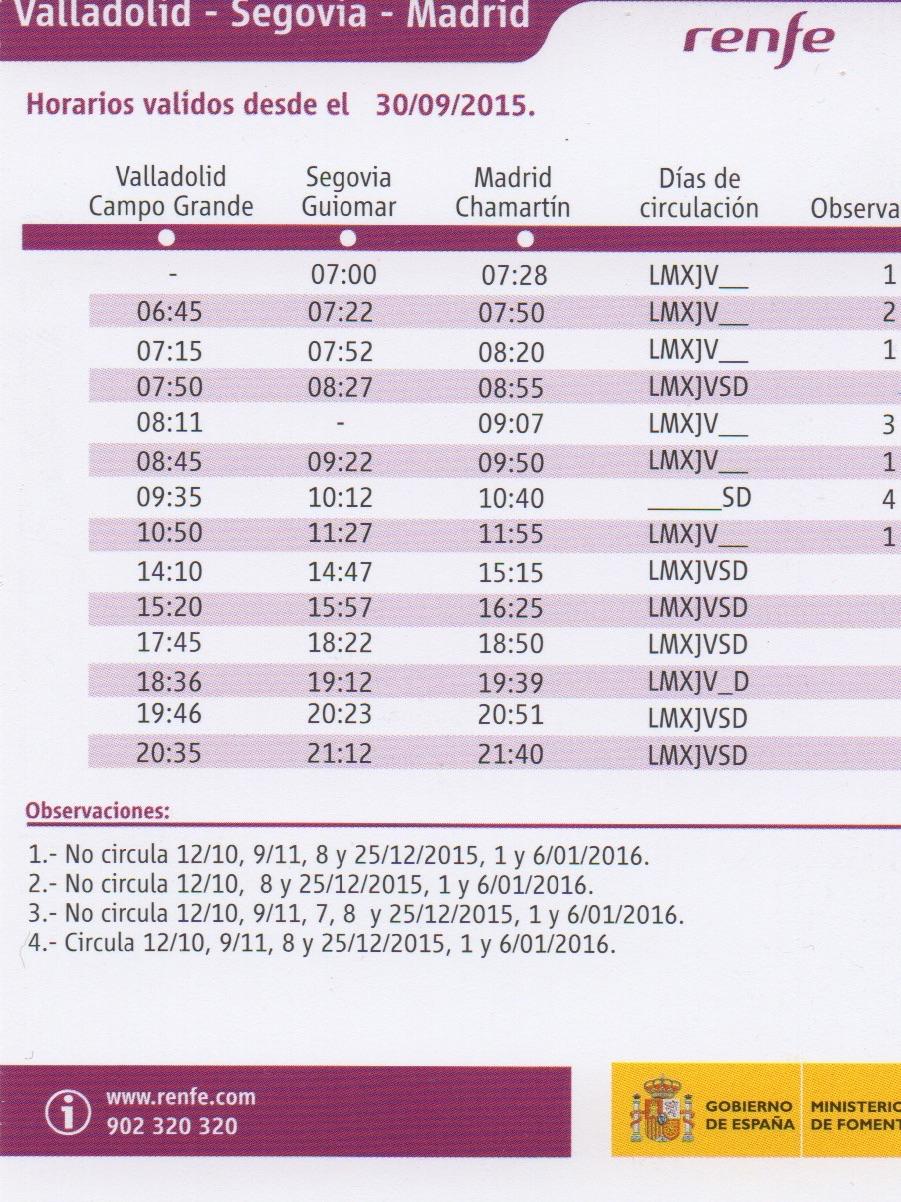 El guardagujas horarios de la l nea madrid segovia valladolid - Horario oficina correos madrid ...