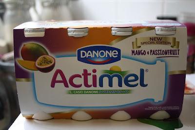 A box of six cartons of Actimel Mango and Passionfruit Yogurt