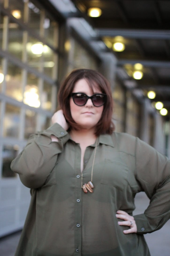 Jessica Kane Top Plus Size Fashion Style Blog Olive Green