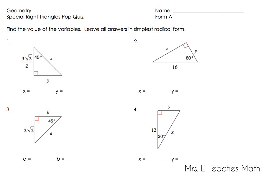 Right Triangles Unit – 30 60 90 Triangles Worksheet