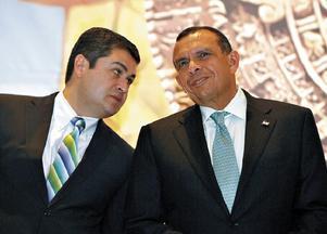 Juan Orlando Hernandez, President of Congress, with Porfirio Lobo, President of Honduras