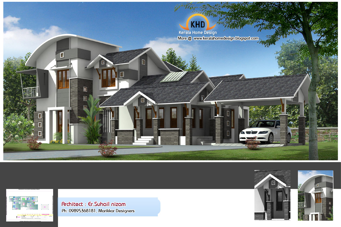 Home plan and elevation 2222 Sq. Ft  home appliance