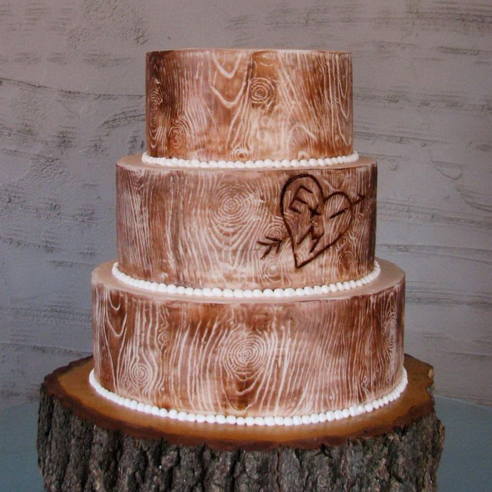 rustic wood themed wedding cake match your wood themed wedding with a bridal shower invitation