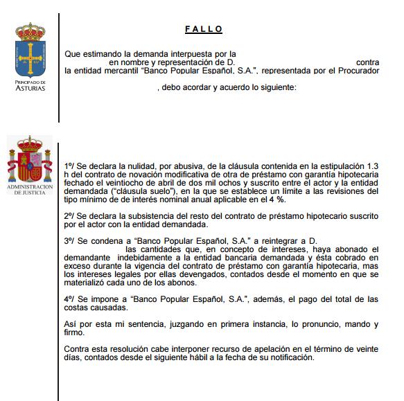 cláusula suelo Banco Popular Gijón Asturias